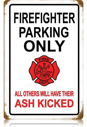 Firefighter Parking Vintage Metal Sign