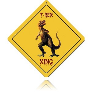 T-Rex Xing Vintage Metal Sign