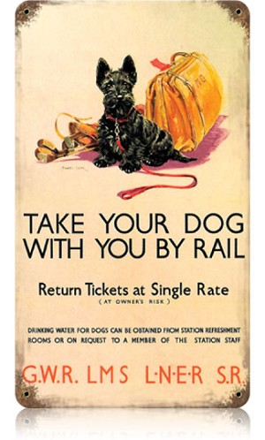 Dog by Rail Vintage Metal Sign