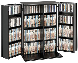 Black Small Locking Media Storage Cabinet By Prepac