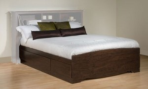 Espresso Double or Full Platform Storage Bed By Prepac