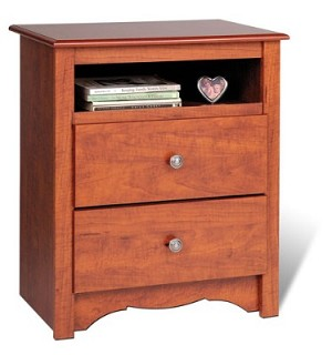 Cherry Tall 2-drawer Night Stand with Open Shelf By Prepac