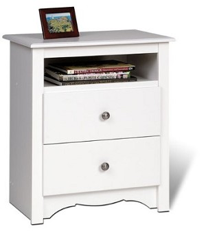 White Tall 2-drawer Night Stand with Open Shelf By Prepac