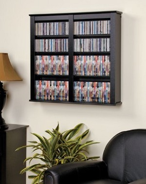 Black Double Floating Wall Storage By Prepac