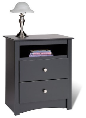 Black Tall 2-drawer Night Stand with Open Shelf By Prepac