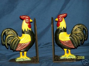 Cast Iron Rooster Bookends - Set Of Two