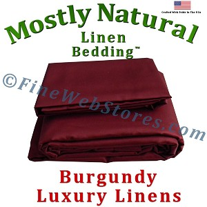 Queen Size Burgundy Bed Linen Sheet Set 300 Thread Count