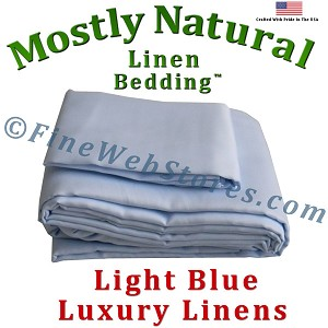 Olympic Queen Size Light Blue Bed Linen Sheet Set 300 Thread Count