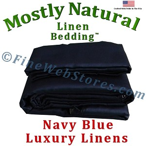Three Quarter Size Navy Blue Bed Linen Sheet Set 300 Thread Count