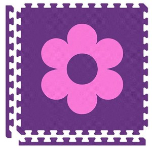 Purple/Pink Flower Reversible Soft Floor Tile Kit