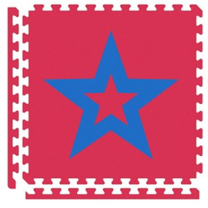 Red/Royal Blue Star Reversible Soft Floor Tile Kit
