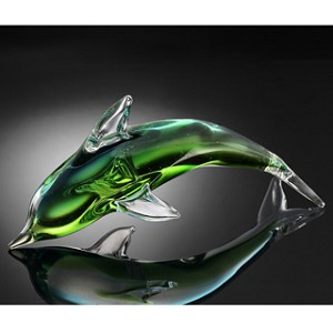 Green Dolphin Art Glass