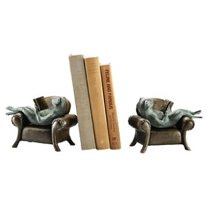 Frogs Reading On Sofa Bookends