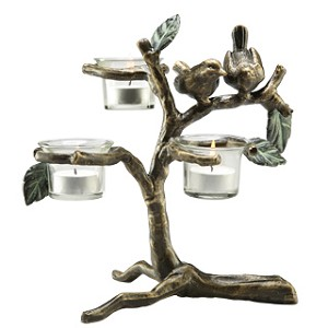 Lovebirds Triple Votive Candle Holder