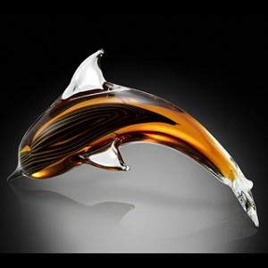 Cresting Dolphin Art Glass