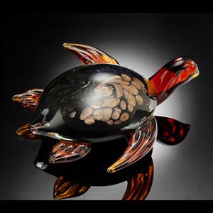 Diving Sea Turtle Art Glass
