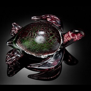 Swimming Sea Turtle Art Glass