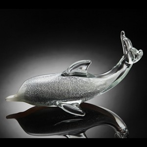 Swimming Dolphin Art Glass