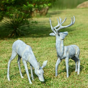 Garden Deer Pair Sculpture