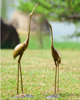 Crane Pair Garden Sculpture