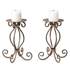 Stylized Scroll Pillar Candle Holder Pair