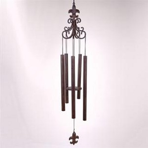 Scroll Wind Chime With Fleur de Lis