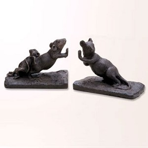Nature's Whimsy Pushing Mouse Bookends