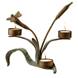 Dragonfly And Cattails Votive Candleholder