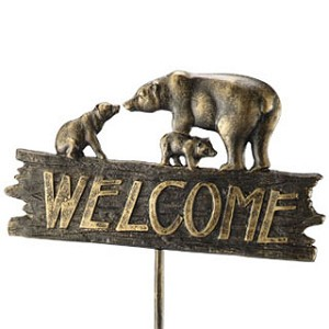 Bear Family Welcome Sign On Stake
