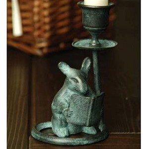 Mouse And Book Candle Holder