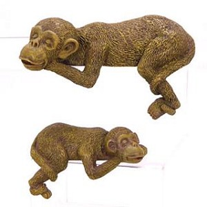 Set Of Two Monkey Shelf Sitters
