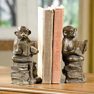 Pair Of Reading Monkey Bookends