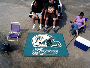 Large Miami Dolphins Logo Area Rug