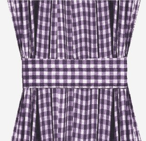 Dark Purple Gingham Check French Door Curtains