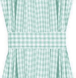 Mint Gingham Check French Door Curtains