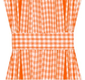 Orange Gingham Check French Door Curtains