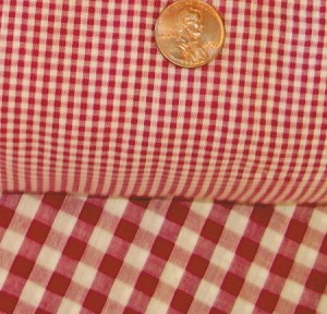 Red Mini Gingham Check French Door Curtains