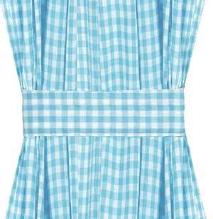 Turquoise Gingham Check French Door Curtains