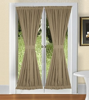 Taupe French Door Curtains