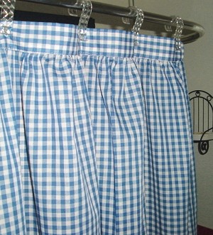 Gingham Check Blue Shower Curtain Easy Care Polyester and Cotton Blend