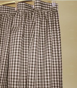 Gingham Check Brown Shower Curtain Easy Care Polyester and Cotton Blend