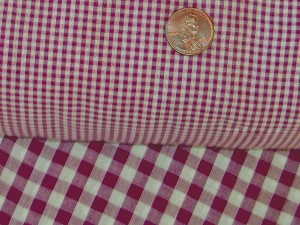 Gingham Check Burgundy Wine Mini Shower Curtain Easy Care Polyester and Cotton Blend