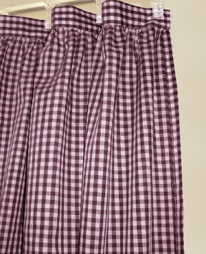 Gingham Check Burgundy Wine Shower Curtain Easy Care Polyester and Cotton Blend