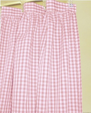 Gingham Check Light Pink Shower Curtain Easy Care Polyester and Cotton Blend