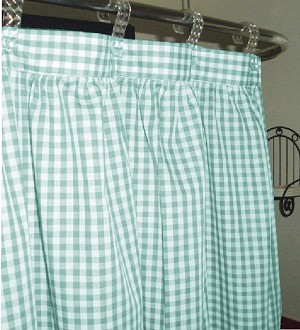 Gingham Check Mint Shower Curtain Easy Care Polyester and Cotton Blend
