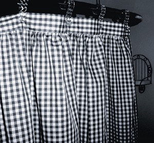Gingham Check Navy Blue Shower Curtain Easy Care Polyester and Cotton Blend