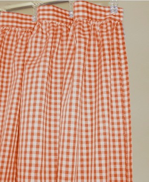 Gingham Check Orange Shower Curtain Easy Care Polyester and Cotton Blend