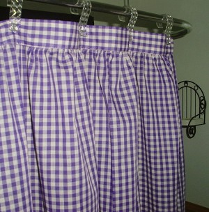Gingham Check Purple Shower Curtain Easy Care Polyester and Cotton Blend