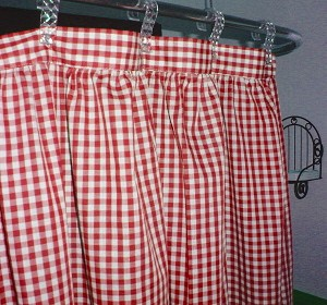 Gingham Check Red Shower Curtain Easy Care Polyester and Cotton Blend
