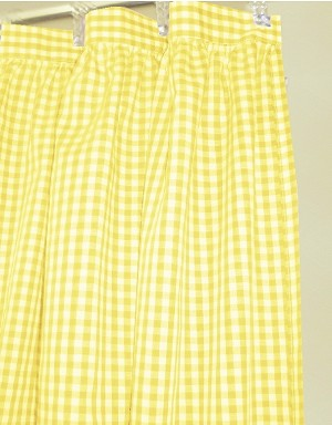 Gingham Check Yellow Shower Curtain Easy Care Polyester and Cotton Blend